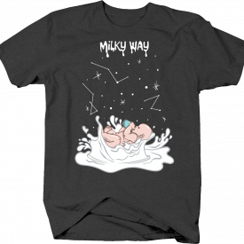 Milky Way Pun with Baby Drinking Milk in Outer Space Stars Tshirt