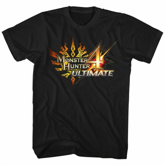 Monster Hunter 4 Ultimate Logo Black Adult T-Shirt