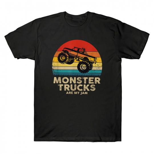 Monster Truck Are My Jam Retro Sunset Vintage Cool Men's T-Shirt Cotton Black