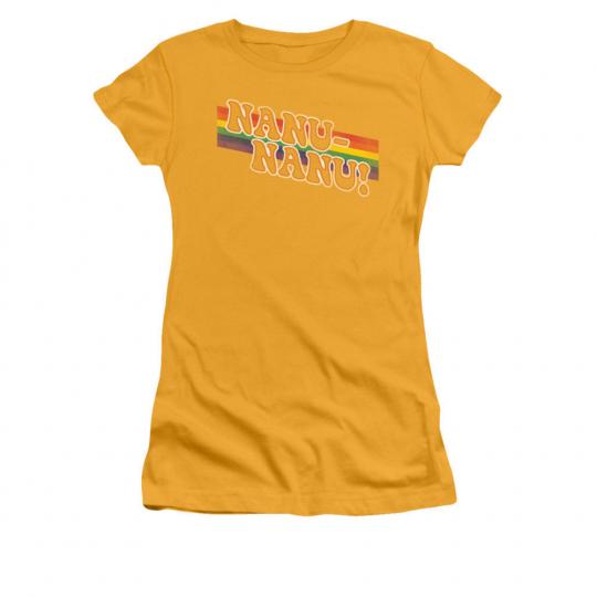Mork & Mindy TV Show NANU-NANU! Rainbow Juniors Cap Sleeve T-Shirt