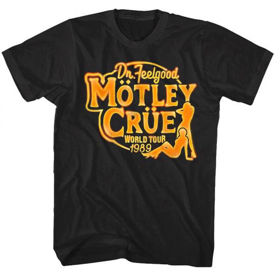 Motley Crue Dr Feelgood World Tour 1989 Men's T Shirt Live Rock Band Tee Concert