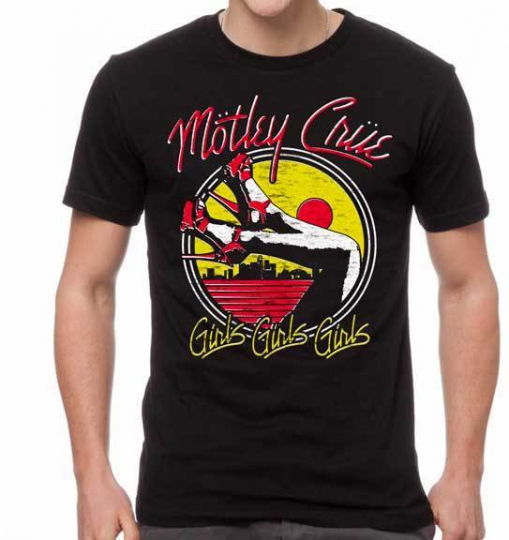 Motley Crue Girls Heels Hard Rock Heavy Glam Metal Music Band T Shirt MOT10245