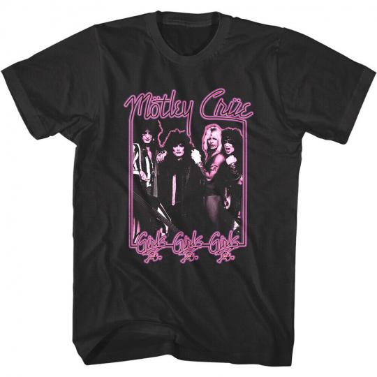 Motley Crue Girls Neon Album Cover Men's T shirt Classic Rock Band Tee Nostalgia