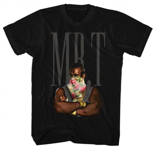 Mr. T 1980's Wrestler Boxer  Flower Bandana Black Adult T-Shirt Tee