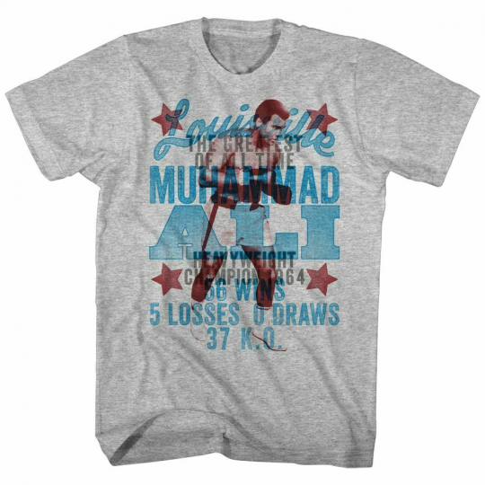 Muhammad Ali Overlay Gray Heather Adult T-Shirt