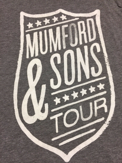 Mumford & Sons Tour Small Gray T-Shirt Tri Blend Rayon Folk Band Rock Concert