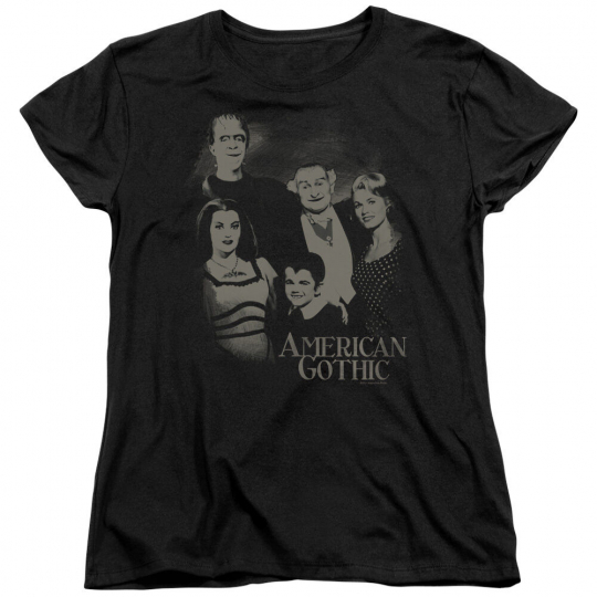 Munsters TV Show Family Photo AMERICAN GOTHIC Women's T-Shirt All Sizes