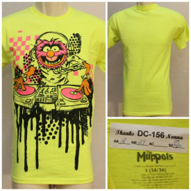 Muppets DJ Animal Spinning Records Neon Yellow Small Tshirt 18″ Pit2Pit DC-156