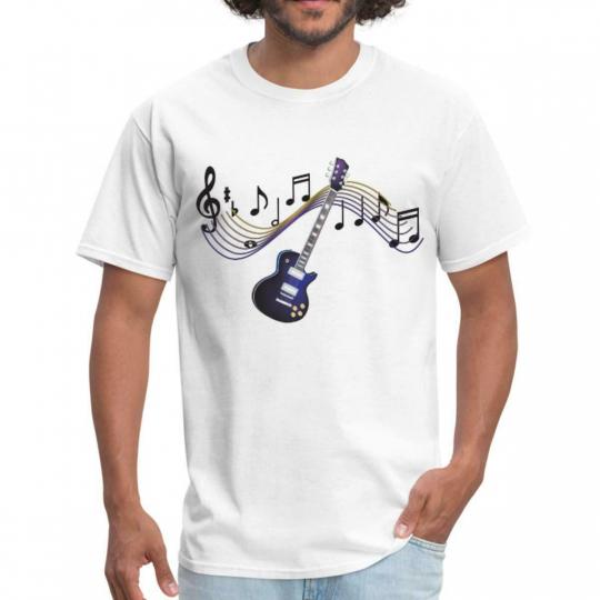 Music Electric Guitar Musical Score Men's T-Shirt