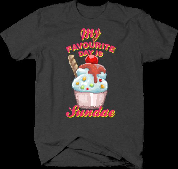 My Favorite Day is Sundae Food Pun in Retro Pixel Art Style Tshirt