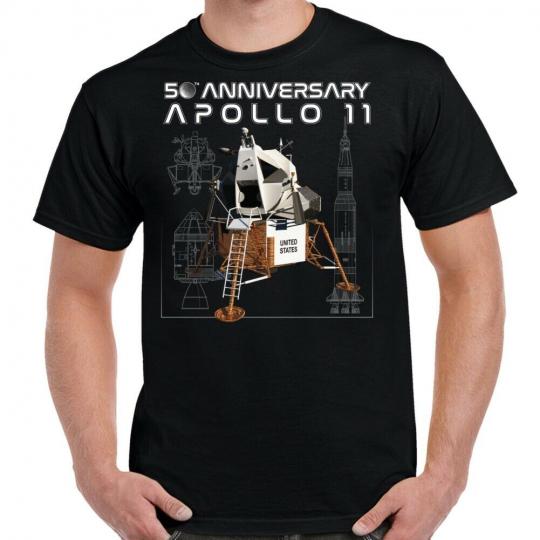 NASA 50th Anniversary Apollo Moonlander Schematics T-Shirt
