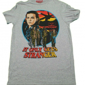 NETFLIX STRANGER THINGS IT ONLY GETS STRANGER T-SHIRT GREY MENS TV SHOW TEE