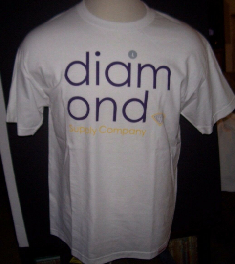 NEW Diamond Supply white purple  short sleeve 100% cotton  t shirt  sz large L