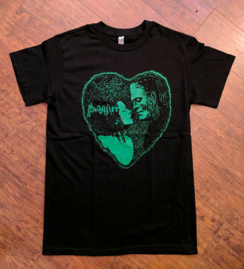 NEW FRANKENSTEIN AND BRIDE HEART SHAPED RETRO T SHIRT