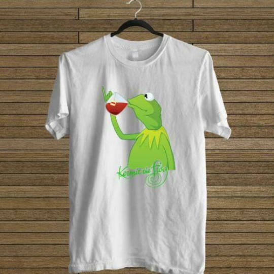 NEW KERMIT THE FROG DRINK TEA WHITE T-SHIRT TEE USA SIZE EM1