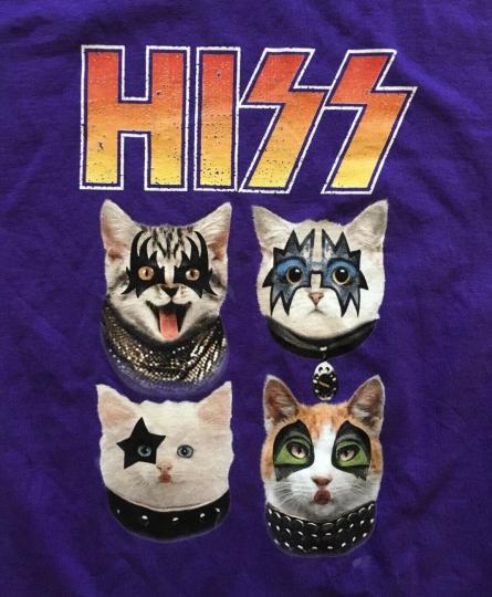 NWOT Hiss Cats Parody KISS Shirt, Purple, Unisex, Men's X-Small, Classic Rock