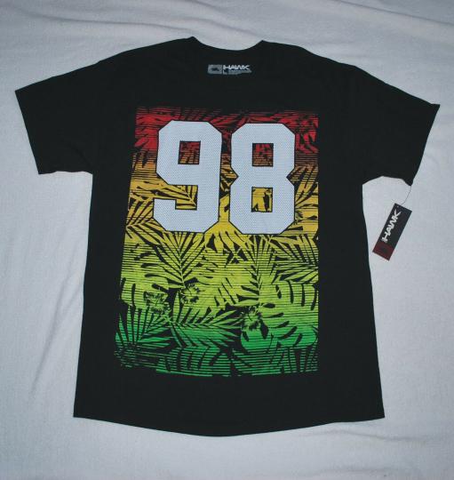 """NWT - Hawk black t-shirt orange,green,yellow fluorescent """"98"""" (L) TONY HAWK"""