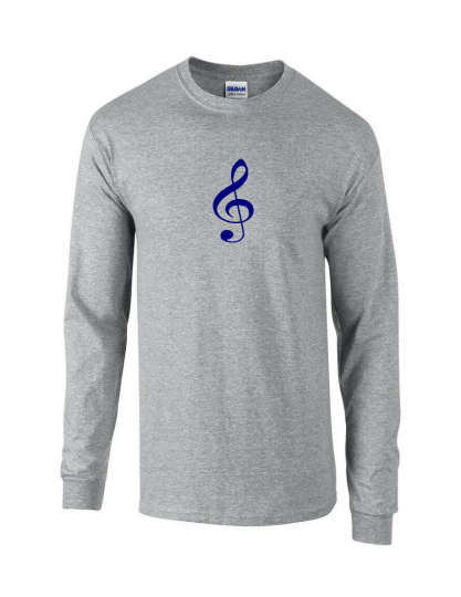 Navy Blue Treble Clef T-Shirt Sport Gray Long Sleeve Music Band Tee Shirt S-5XL
