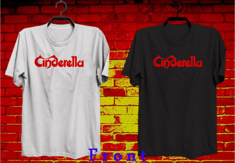 New CINDERELLA Rock Band Gavin Logo Men's Black & White T shirt tee