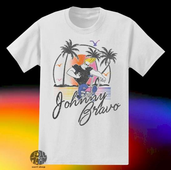 New Cartoon Network Johnny Bravo Beach Classic Vintage Mens  T-Shirt