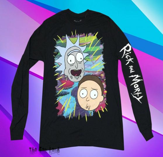 New Cartoon Network Rick & Morty Jungle Mens Long Sleeve Mens T-Shirt