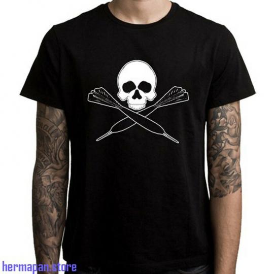 New Darts Crossbones Logo Men's Black T-Shirt Size S to 3XL