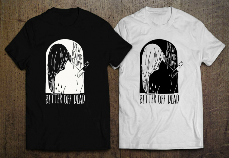 New Found Glory Better off Dead black White Men's T-shirt S-2XL