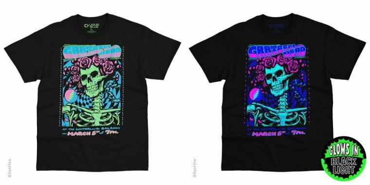 New GRATEFUL DEAD Black Light  BERTHA  Tie Dye  LICENSED CONCERT BAND  T Shirt