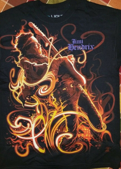 New JIMI HENDRIX On FIRE  LICENSED CONCERT BAND  T-Shirt