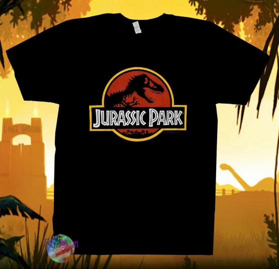 New Jurassic Park Classic Movie Graphic Screen Print Shirt