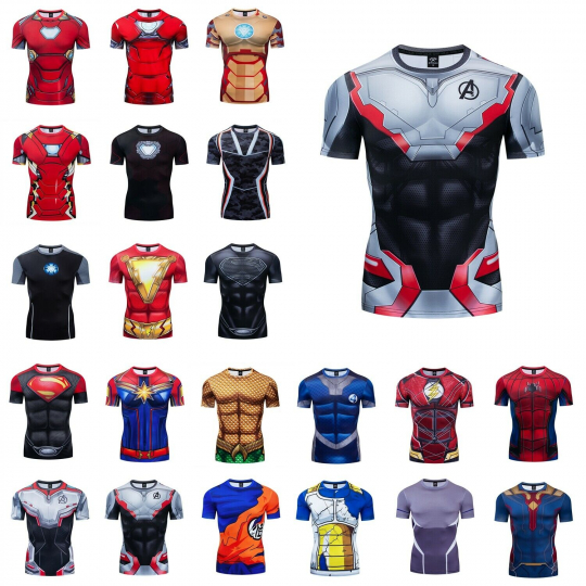 New Marvel 3D Printed T-Shirt Superhero Costume Cosplay Compression Gym Tee Top
