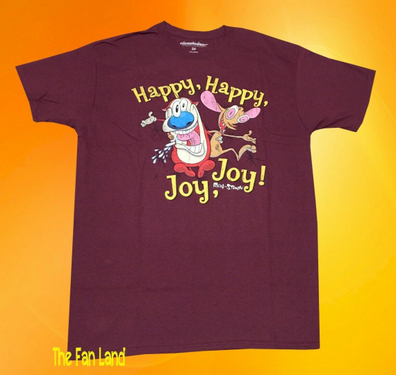 New Nickelodeon Ren and Stimpy Happy Joy Men's Vintage Classic T-Shirt