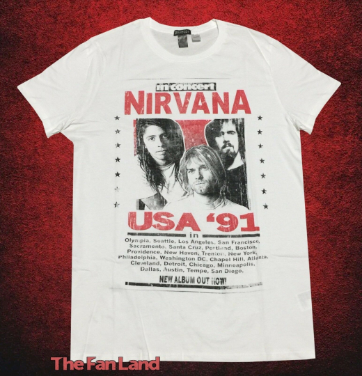 New Nirvana Poster Tour Photo 1991 Mens Vintage T-Shirt
