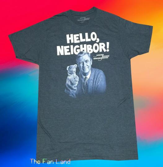 New PBS Mister Mr. Rogers Hello Neighbor Mens Vintage T-Shirt