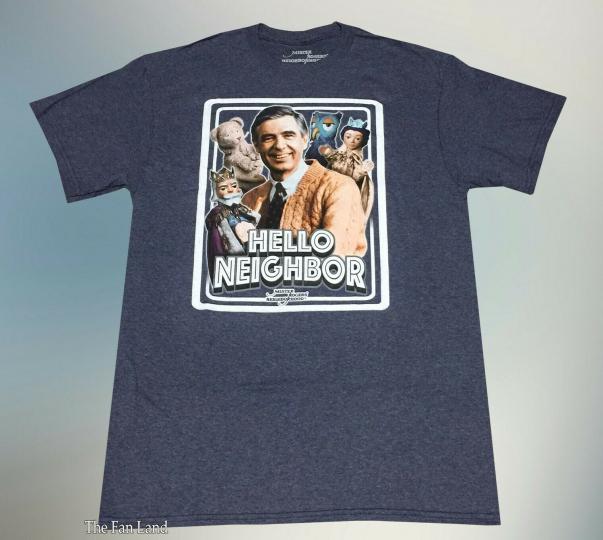 New PBS Mister Mr. Rogers Hello Neighborhood Heathered Navy Mens Vintage T-Shirt