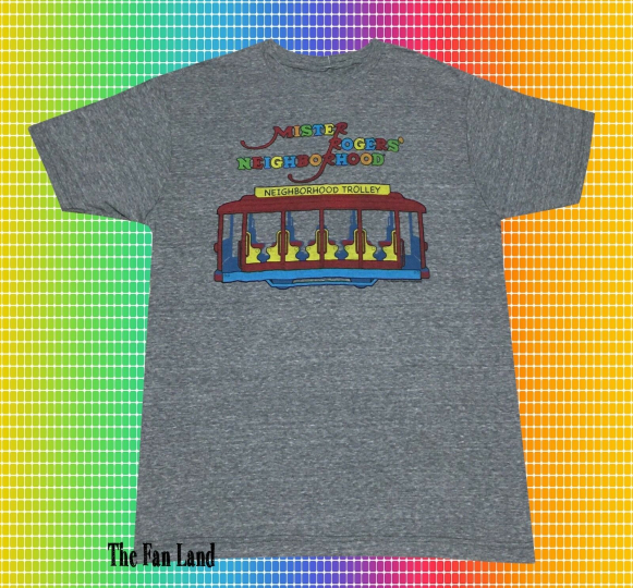 New PBS Mister Mr. Rogers Neighborhood Trolley Mens Vintage T-Shirt