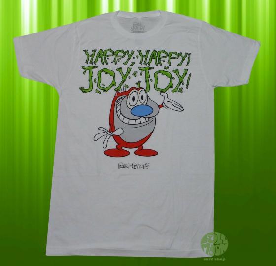 New Ren and Stimpy Happy Joy White Nickelodeon Men's Vintage Classic T-Shirt