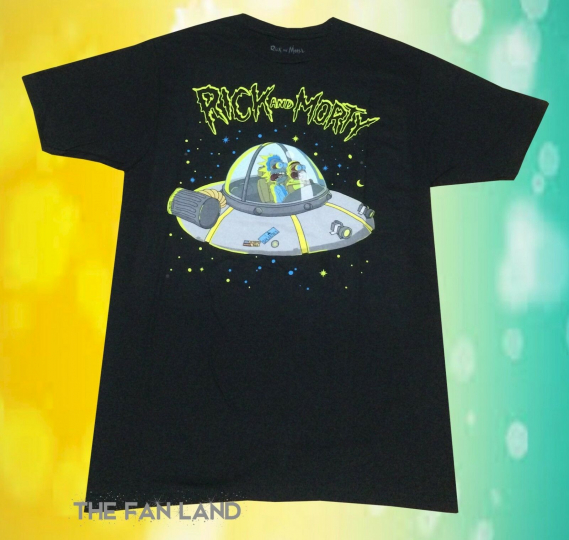 New Rick and Morty UFO Space Ship Cartoon Network Adult Swim Mens T-Shirt