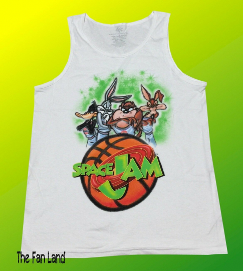 New Space Jam Looney Tunes Airbrushed Bugs Bunny Vintage Mens Tank Top T-Shirt
