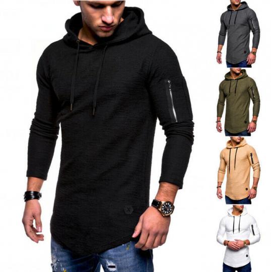 New Tops Hoodie T-shirt Fit Sleeve Long Slim Men's Casual Muscle Tee Blouse