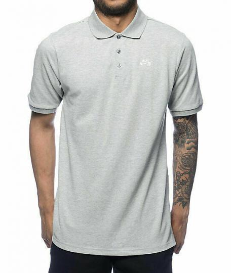 Nike SB Polo Shirt Skate Skateboard Gray Dri-Fit 728082-063