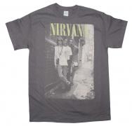 Nirvana Brick Wall Alley Photo Rock Music Band Men's Charcoal Black T-Shirt