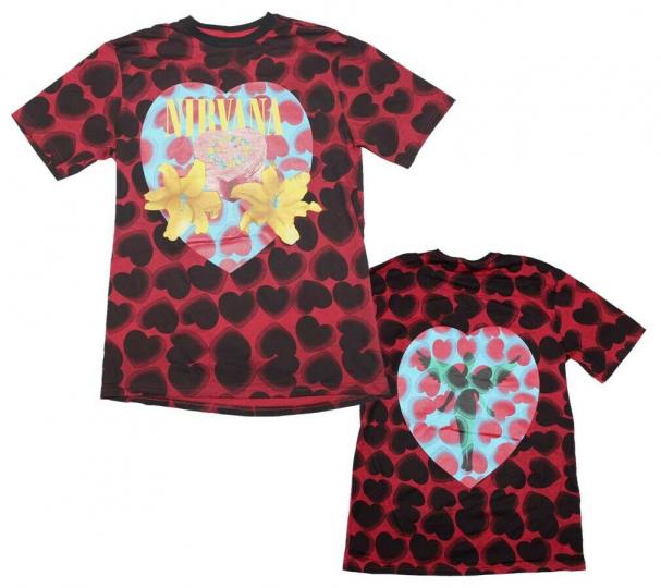 Nirvana Heart Shaped Box Men's Black Red Dye T-Shirt Men's Licensed Band Tee