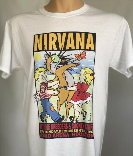 Nirvana T Shirt Kurt Cobain concert tour T-shirt  at Astro Arena Houston