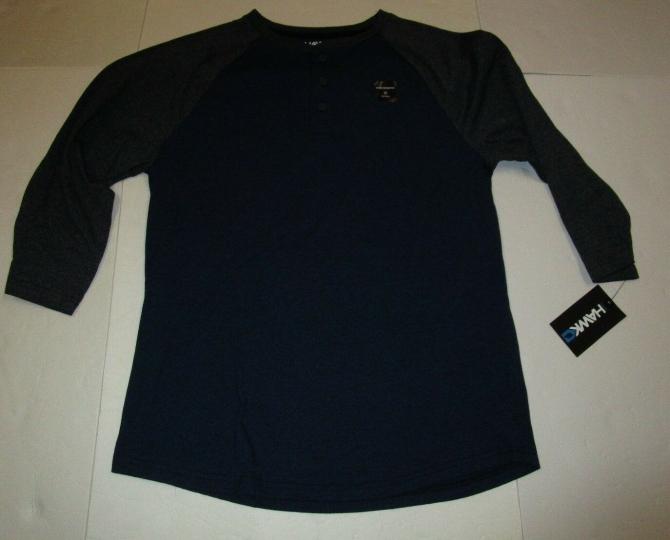 Nwt Mens Tony Hawk Navy Gray Wicking Henley Baseball Tshirt Casual Shirt Medium