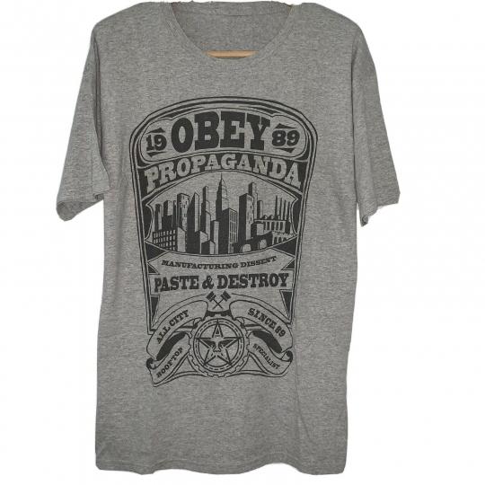 OBEY Shepard Fairey Art Propaganda Paste & Destroy Gray Mens T-Shirt