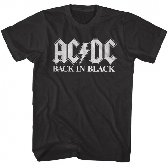 OFFICIAL ACDC Back in Black Album Cover Men's T Shirt Music Rock Band Merch