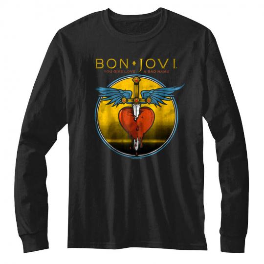 OFFICIAL Bon Jovi You Give Love a Bad Name Men's Long Sleeve T-shirt Rock Band