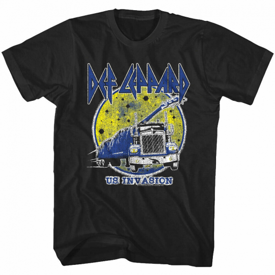 OFFICIAL Def Leppard US Invasion Moon Men's T Shirt Heavy Metal Rock Band