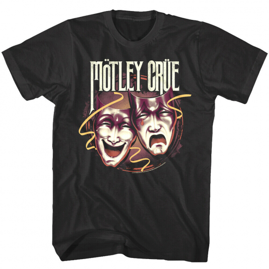 OFFICIAL Motley Crue Theater of Pain Drama Masks Men's T Shirt Rock Band